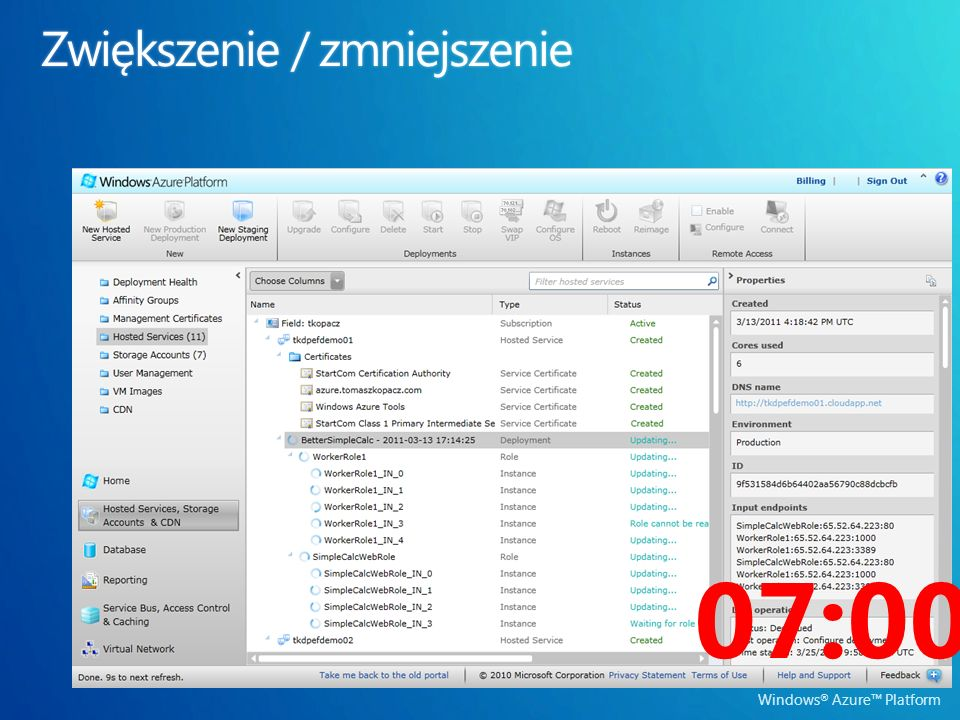 Windows ® Azure Platform 07:00