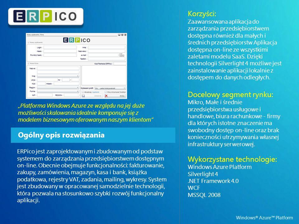 Windows ® Azure Platform Ogólny opis rozwiązania Korzyści: Zaawansowana aplikacja do zarządzania przedsiębiorstwem dostępna również dla małych i średnich przedsiębiorstw Aplikacja dostępna on-line ze wszystkimi zaletami modelu SaaS.