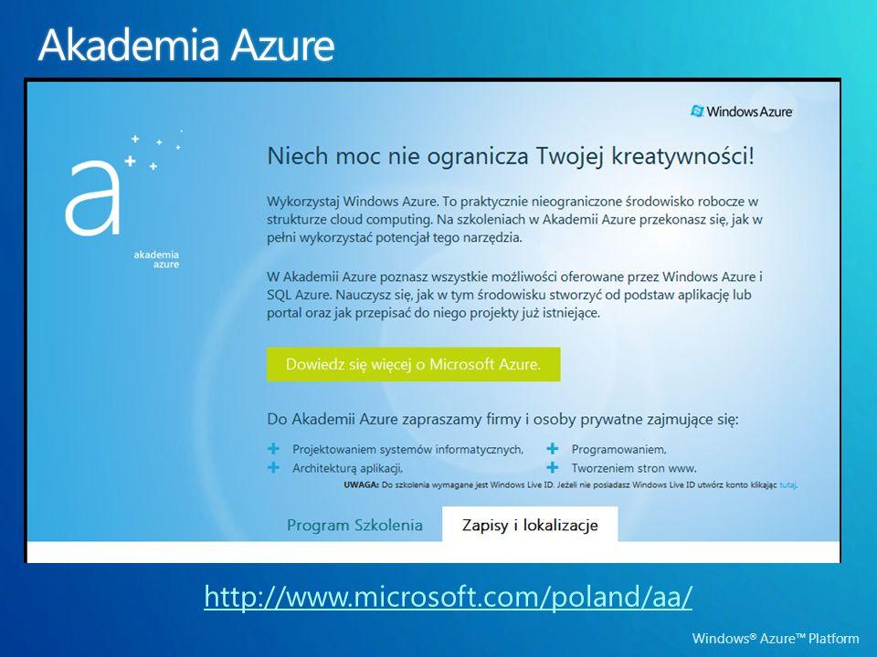 Windows ® Azure Platform http://www.microsoft.com/poland/aa/
