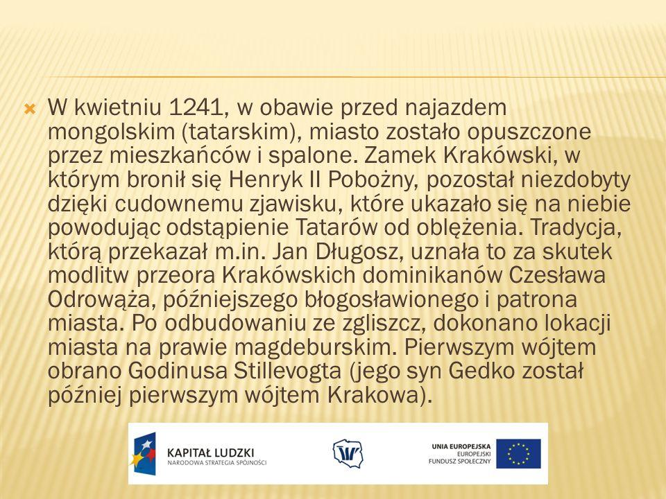 W kwietniu 1241, w obawie przed najazdem mongolskim (tatarskim), miasto zostało opuszczone przez mieszkańców i spalone. Zamek Krakówski, w którym bron
