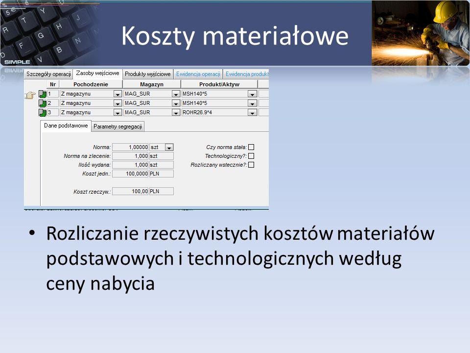 Koszty materiałowe Rozliczanie rzeczywistych kosztów materiałów podstawowych i technologicznych według ceny nabycia