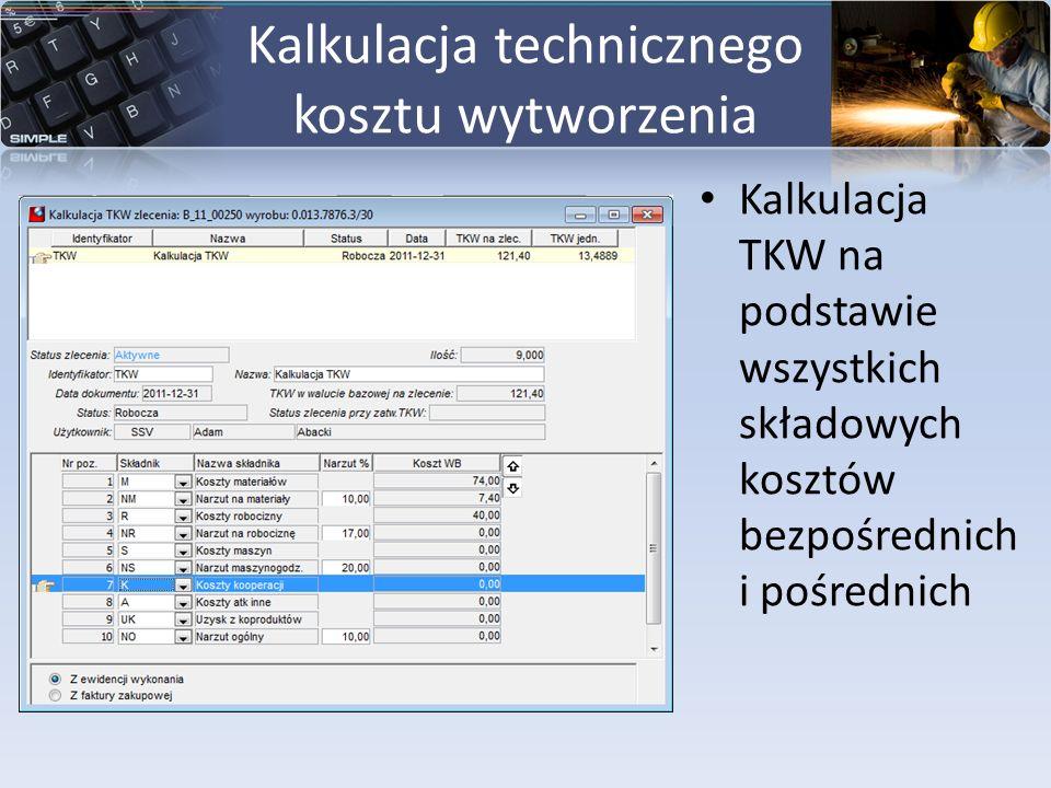 Kalkulacja technicznego kosztu wytworzenia Kalkulacja TKW na podstawie wszystkich składowych kosztów bezpośrednich i pośrednich