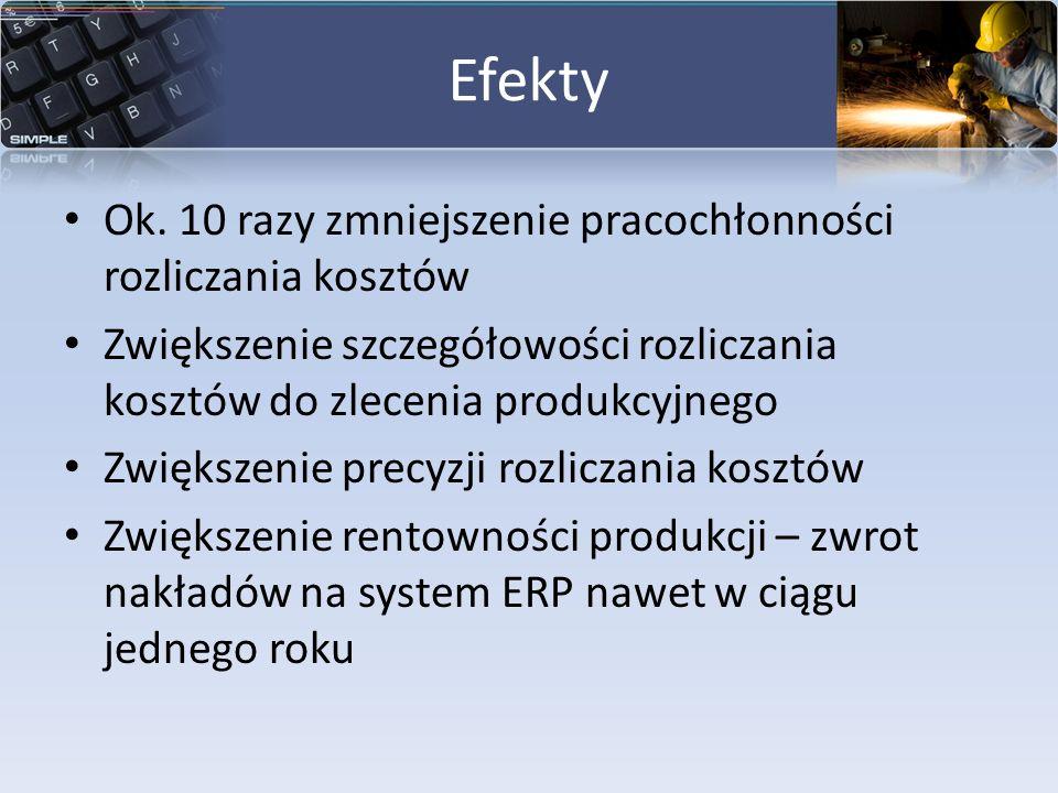 Efekty Ok. 10 razy zmniejszenie pracochłonności rozliczania kosztów Zwiększenie szczegółowości rozliczania kosztów do zlecenia produkcyjnego Zwiększen
