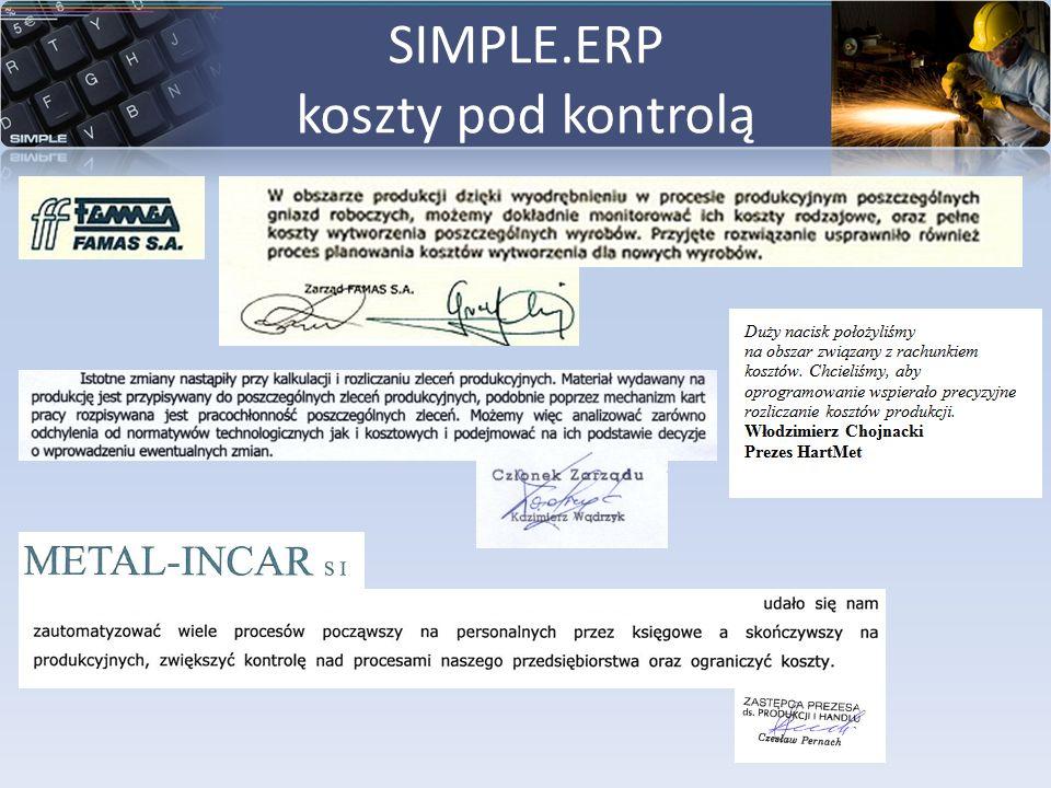 SIMPLE.ERP koszty pod kontrolą