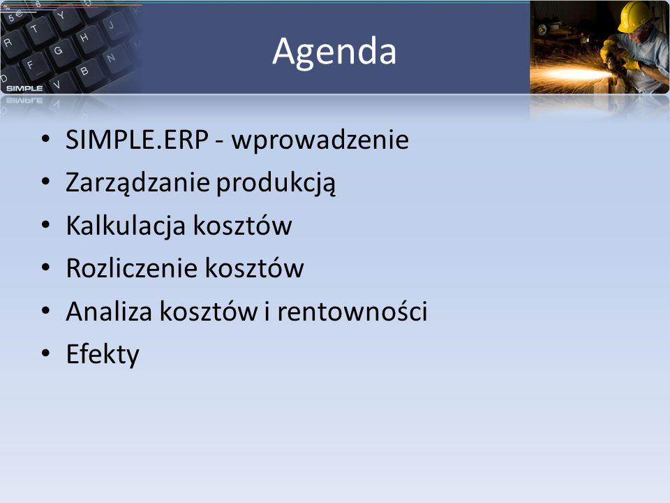Agenda SIMPLE.ERP - wprowadzenie Zarządzanie produkcją Kalkulacja kosztów Rozliczenie kosztów Analiza kosztów i rentowności Efekty