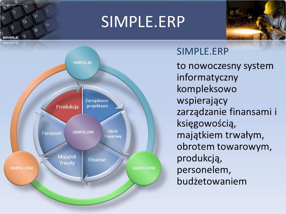 SIMPLE.ERP to nowoczesny system informatyczny kompleksowo wspierający zarządzanie finansami i księgowością, majątkiem trwałym, obrotem towarowym, prod