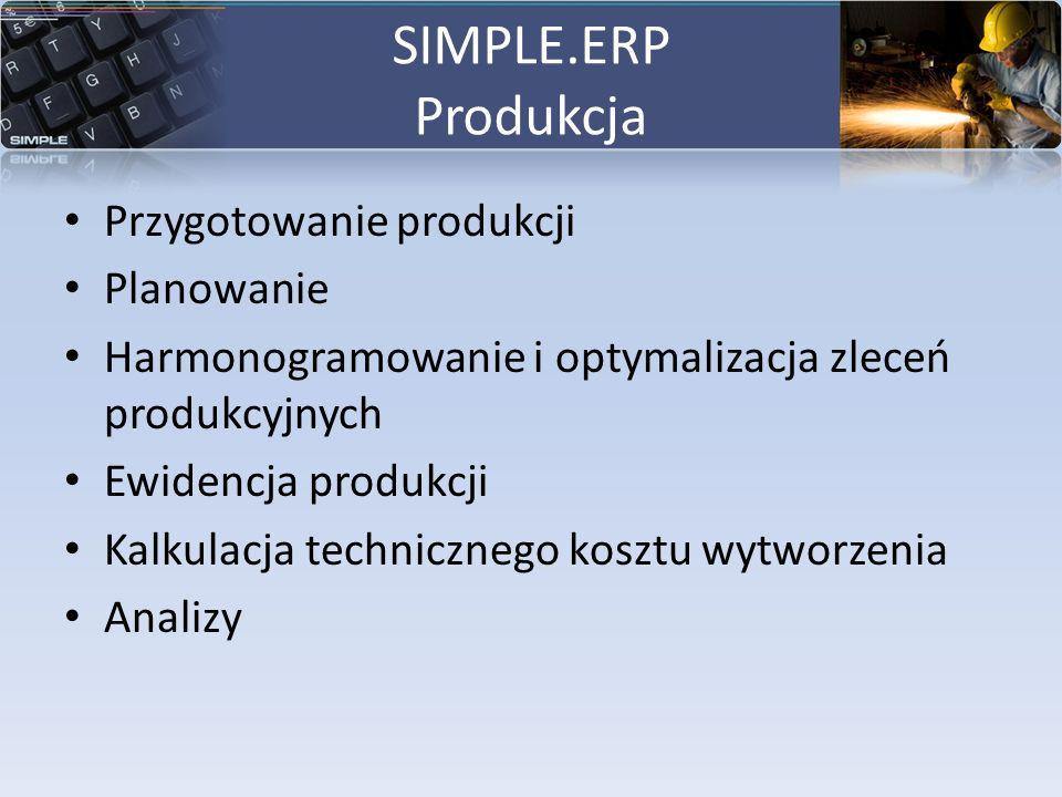 SIMPLE.ERP Produkcja Przygotowanie produkcji Planowanie Harmonogramowanie i optymalizacja zleceń produkcyjnych Ewidencja produkcji Kalkulacja technicz