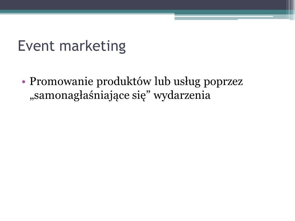 Event marketing Promowanie produktów lub usług poprzez samonagłaśniające się wydarzenia