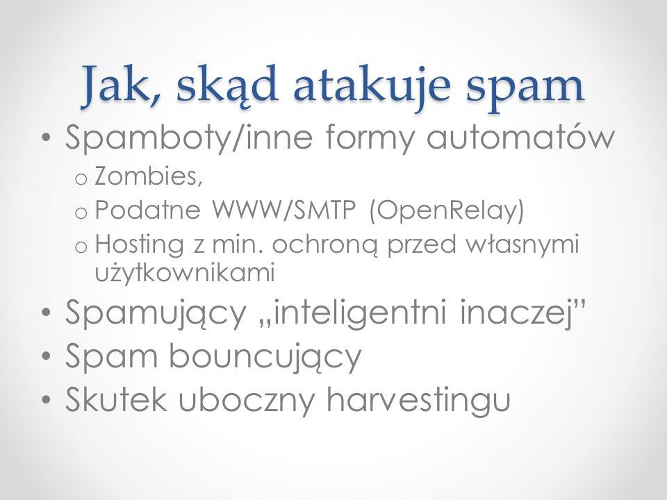 Jak, skąd atakuje spam Spamboty/inne formy automatów o Zombies, o Podatne WWW/SMTP (OpenRelay) o Hosting z min. ochroną przed własnymi użytkownikami S