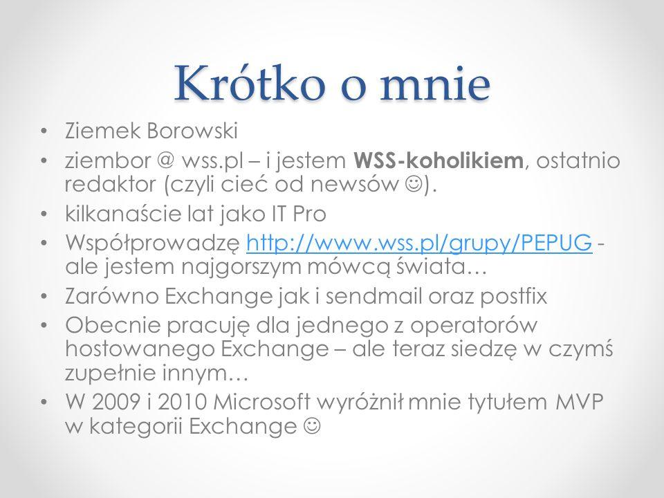 Krótko o mnie Ziemek Borowski ziembor @ wss.pl – i jestem WSS-koholikiem, ostatnio redaktor (czyli cieć od newsów ). kilkanaście lat jako IT Pro Współ