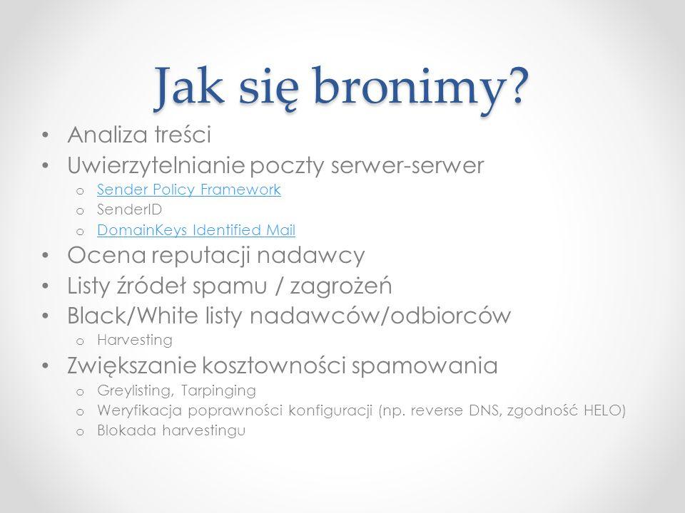 Jak się bronimy? Analiza treści Uwierzytelnianie poczty serwer-serwer o Sender Policy Framework Sender Policy Framework o SenderID o DomainKeys Identi
