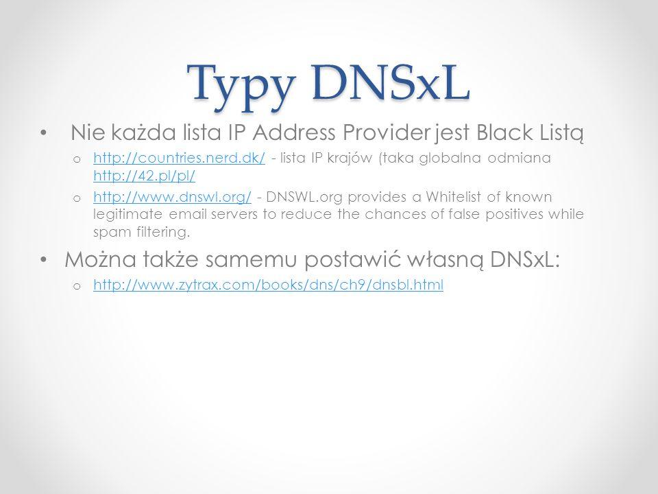 Typy DNSxL Nie każda lista IP Address Provider jest Black Listą o http://countries.nerd.dk/ - lista IP krajów (taka globalna odmiana http://42.pl/pl/