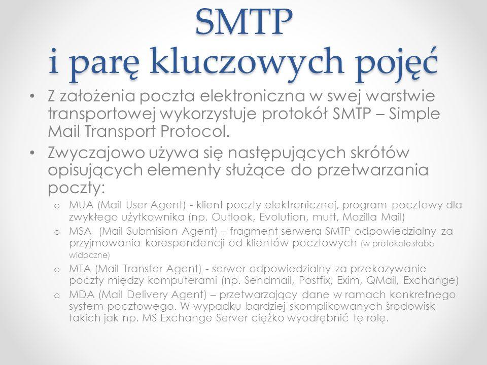 SMTP i parę kluczowych pojęć Z założenia poczta elektroniczna w swej warstwie transportowej wykorzystuje protokół SMTP – Simple Mail Transport Protoco