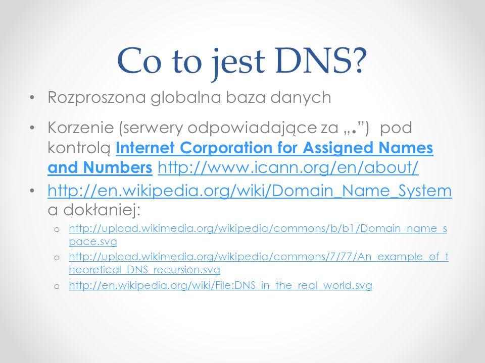 Co to jest DNS? Rozproszona globalna baza danych Korzenie (serwery odpowiadające za. ) pod kontrolą Internet Corporation for Assigned Names and Number