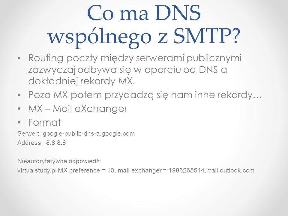 Co ma DNS wspólnego z SMTP? Routing poczty między serwerami publicznymi zazwyczaj odbywa się w oparciu od DNS a dokładniej rekordy MX. Poza MX potem p