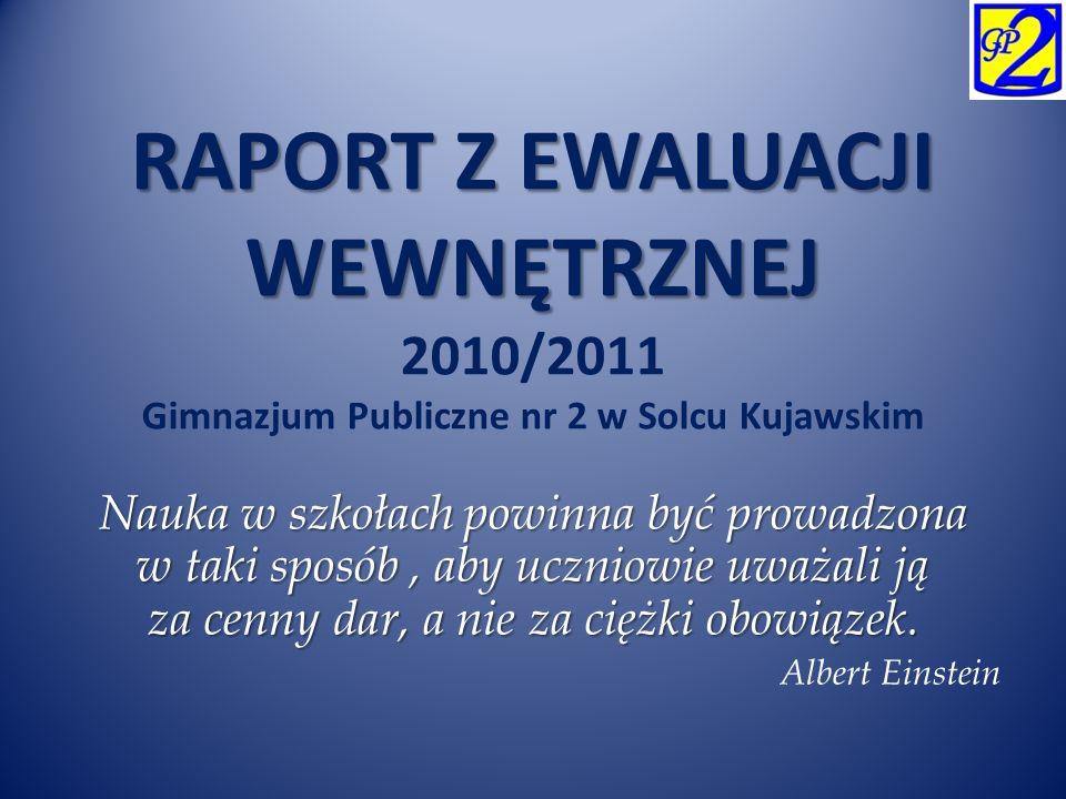 RAPORT Z EWALUACJI WEWNĘTRZNEJ RAPORT Z EWALUACJI WEWNĘTRZNEJ 2010/2011 Gimnazjum Publiczne nr 2 w Solcu Kujawskim Nauka w szkołach powinna być prowad