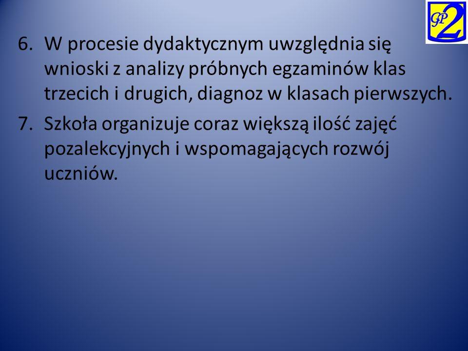 6.W procesie dydaktycznym uwzględnia się wnioski z analizy próbnych egzaminów klas trzecich i drugich, diagnoz w klasach pierwszych. 7.Szkoła organizu