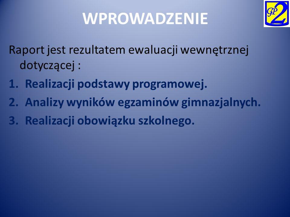 WPROWADZENIE Raport jest rezultatem ewaluacji wewnętrznej dotyczącej : 1.Realizacji podstawy programowej. 2.Analizy wyników egzaminów gimnazjalnych. 3