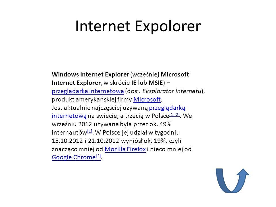 Internet Expolorer Windows Internet Explorer (wcześniej Microsoft Internet Explorer, w skrócie IE lub MSIE) – przeglądarka internetowa (dosł. Eksplora