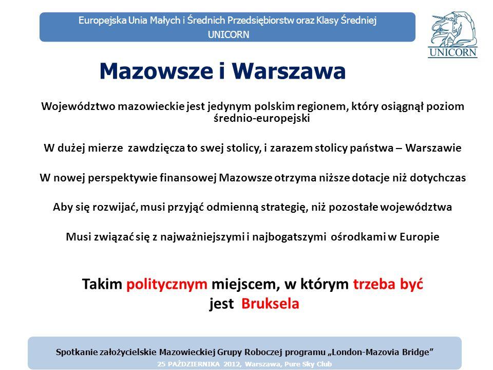 Europejska Unia Małych i Średnich Przedsiębiorstw oraz Klasy Średniej UNICORN Województwo Mazowieckie ma już swoje przedstawicielstwo w Brukseli Biuro przedstawicielstwa Biuro przedstawicielstwa Województwa Mazowieckiego Bawarii w Brukseli w Brukseli Spotkanie założycielskie Mazowieckiej Grupy Roboczej programu London-Mazovia Bridge 25 PAŻDZIERNIKA 2012, Warszawa, Pure Sky Club