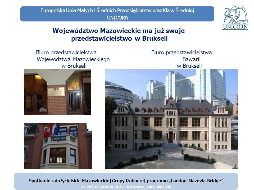 Europejska Unia Małych i Średnich Przedsiębiorstw oraz Klasy Średniej UNICORN Województwo Mazowieckie ma już swoje przedstawicielstwo w Brukseli Biuro