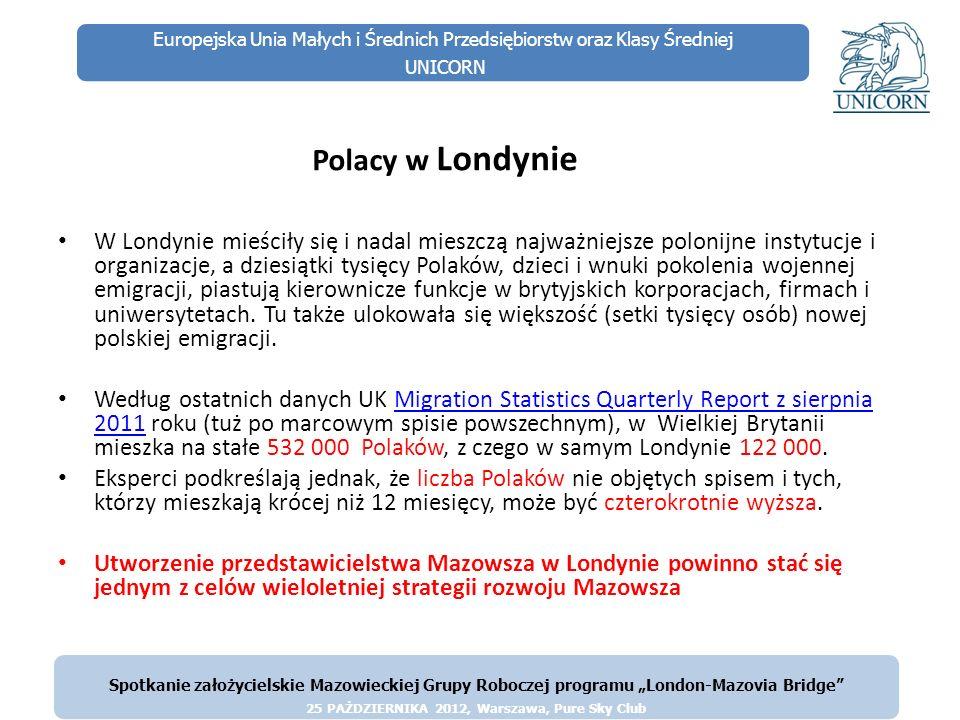 Europejska Unia Małych i Średnich Przedsiębiorstw oraz Klasy Średniej UNICORN Polacy w Londynie W Londynie mieściły się i nadal mieszczą najważniejsze