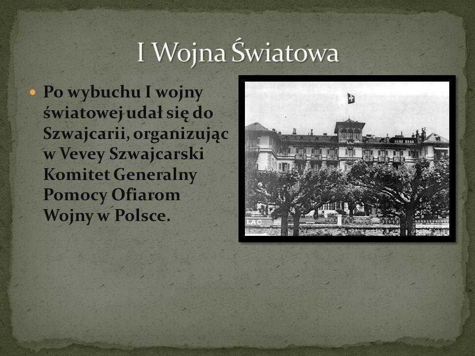 Po wybuchu I wojny światowej udał się do Szwajcarii, organizując w Vevey Szwajcarski Komitet Generalny Pomocy Ofiarom Wojny w Polsce.