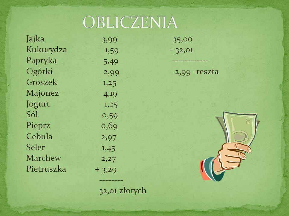 Reszta z 35 złotych to – 2,99 zł.