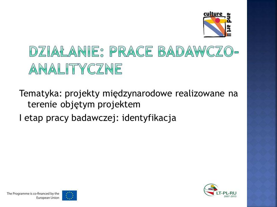 Tematyka: projekty międzynarodowe realizowane na terenie objętym projektem I etap pracy badawczej: identyfikacja