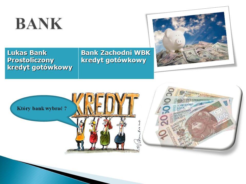 Lukas Bank Prostoliczony kredyt gotówkowy Bank Zachodni WBK kredyt gotówkowy Który bank wybrać ?