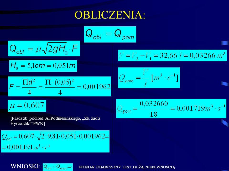 WNIOSKI: POMIAR OBARCZONY JEST DUŻĄ NIEPEWNOŚCIĄ OBLICZENIA: 0 [Praca zb. pod red. A. Podniesińskiego, Zb. zad z Hydrauliki PWN]