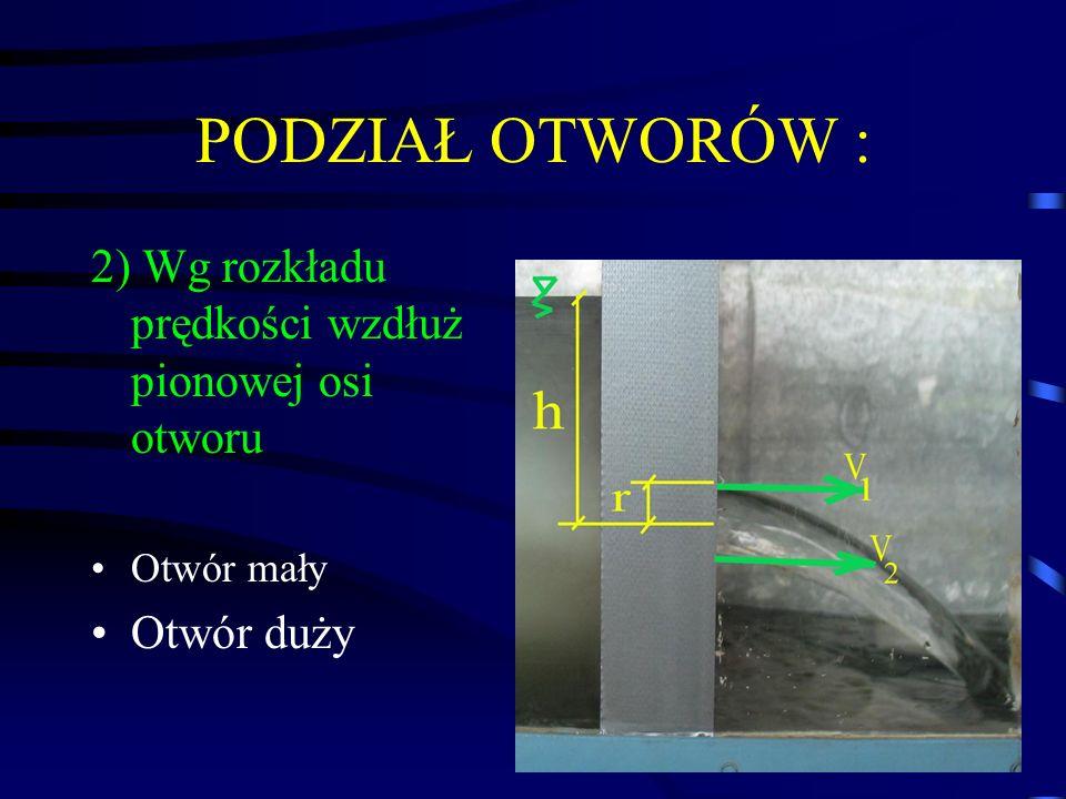 PODZIAŁ OTWORÓW : 2) Wg rozkładu prędkości wzdłuż pionowej osi otworu Otwór mały Otwór duży