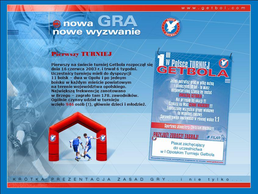 Pierwszy TURNIEJ Pierwszy na świecie turniej Getbola rozpoczął się dnia 16 czerwca 2003 r.