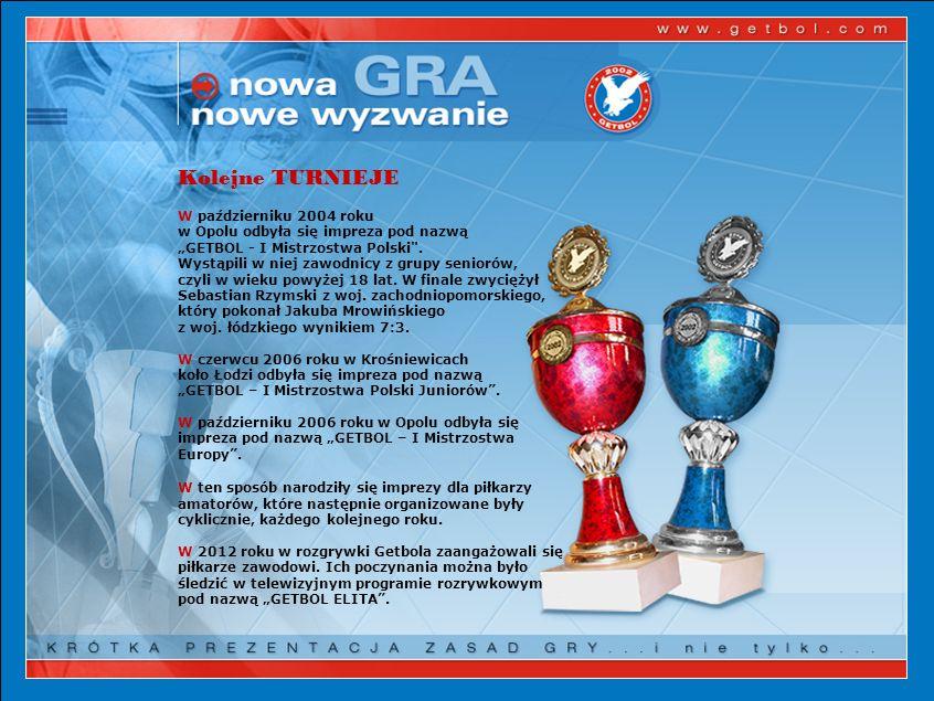 Kolejne TURNIEJE W październiku 2004 roku w Opolu odbyła się impreza pod nazwą GETBOL - I Mistrzostwa Polski .