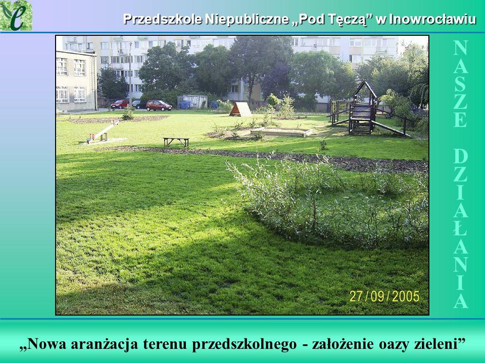 Wybrane działania w ramach zdobywania Zielonego Certyfikatu Nowa aranżacja terenu przedszkolnego - założenie oazy zieleni NASZE DZIAŁANIANASZE DZIAŁAN