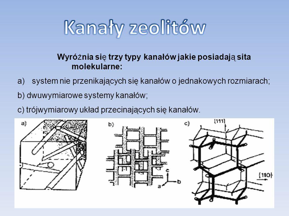Wyróżnia się trzy typy kanałów jakie posiadają sita molekularne: a)system nie przenikających się kanałów o jednakowych rozmiarach; b) dwuwymiarowe sys