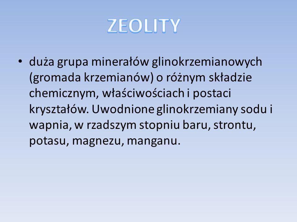 duża grupa minerałów glinokrzemianowych (gromada krzemianów) o różnym składzie chemicznym, właściwościach i postaci kryształów. Uwodnione glinokrzemia