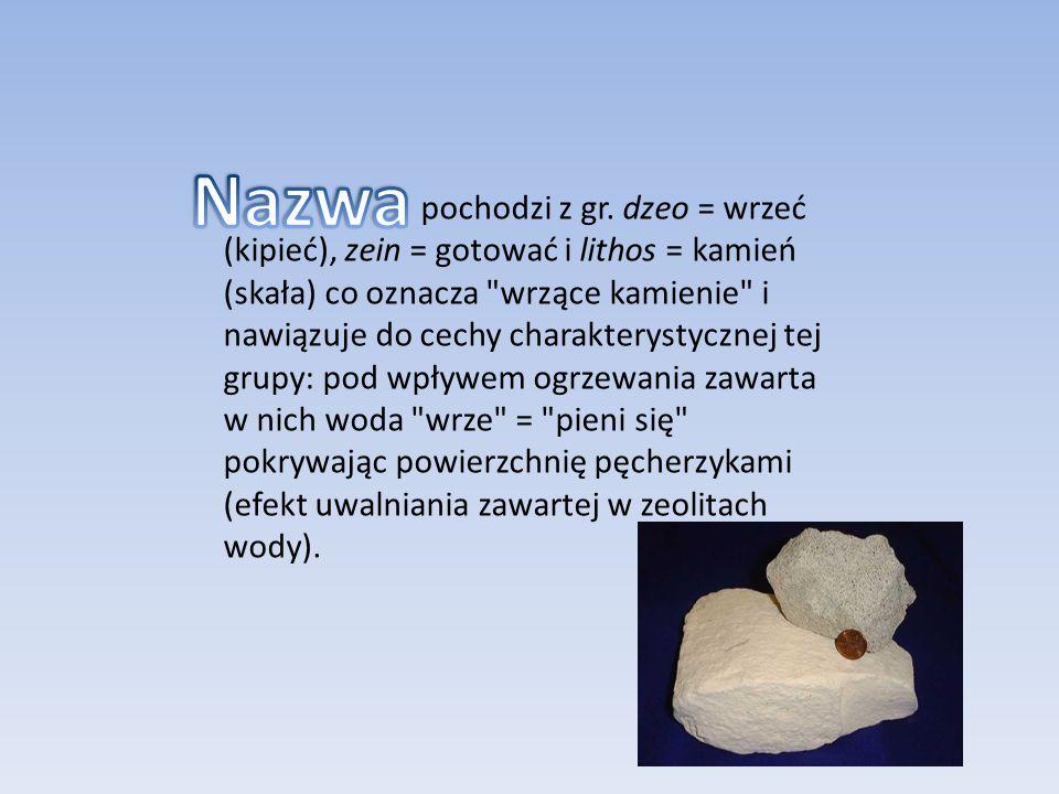 pochodzi z gr. dzeo = wrzeć (kipieć), zein = gotować i lithos = kamień (skała) co oznacza