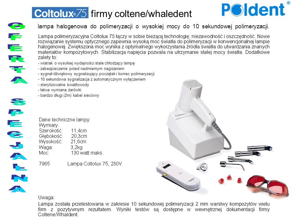 lampa halogenowa do polimeryzacji o wysokiej mocy do 10 sekundowej polimeryzacji. Lampa polimeryzacyjna Coltolux 75 łączy w sobie bieżącą technologię,