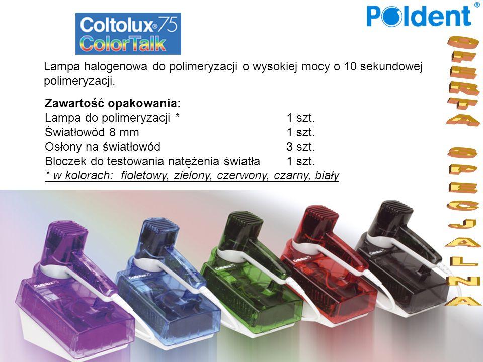 Lampa halogenowa do polimeryzacji o wysokiej mocy o 10 sekundowej polimeryzacji. Zawartość opakowania: Lampa do polimeryzacji *1 szt. Światłowód 8 mm1