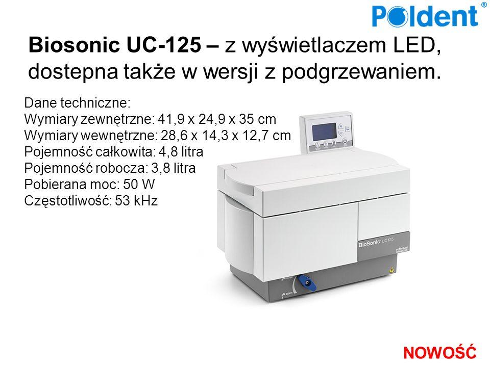 Biosonic UC-125 – z wyświetlaczem LED, dostepna także w wersji z podgrzewaniem. Dane techniczne: Wymiary zewnętrzne: 41,9 x 24,9 x 35 cm Wymiary wewnę