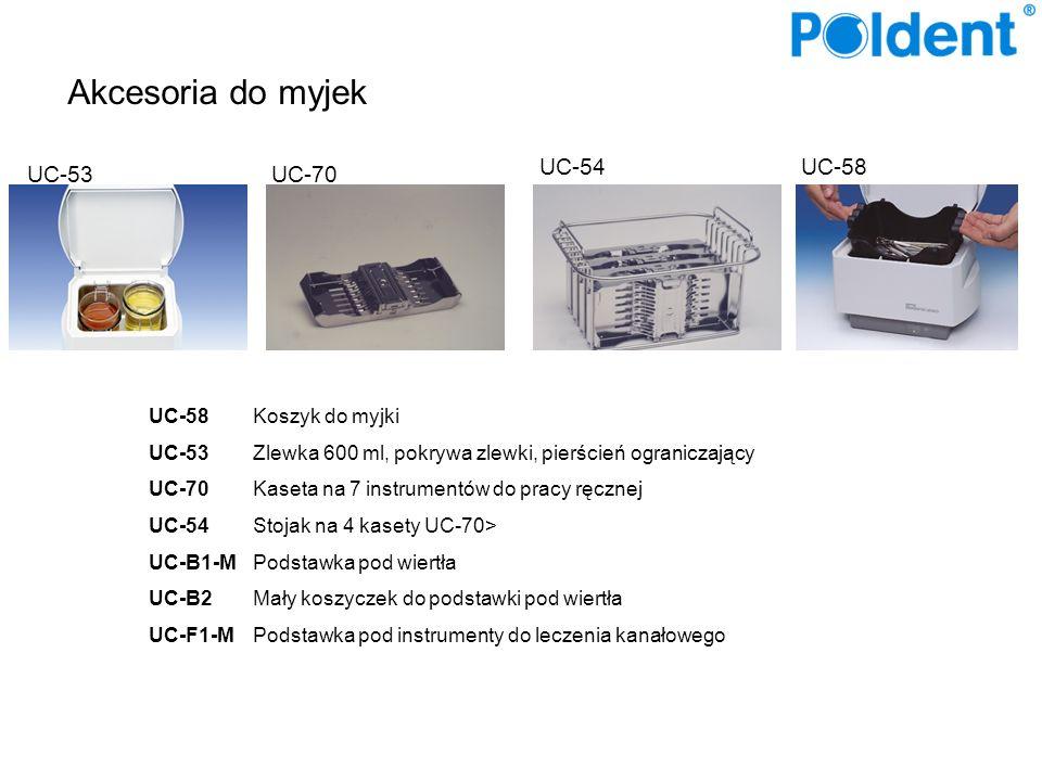 Akcesoria do myjek UC-58Koszyk do myjki UC-53Zlewka 600 ml, pokrywa zlewki, pierścień ograniczający UC-70Kaseta na 7 instrumentów do pracy ręcznej UC-