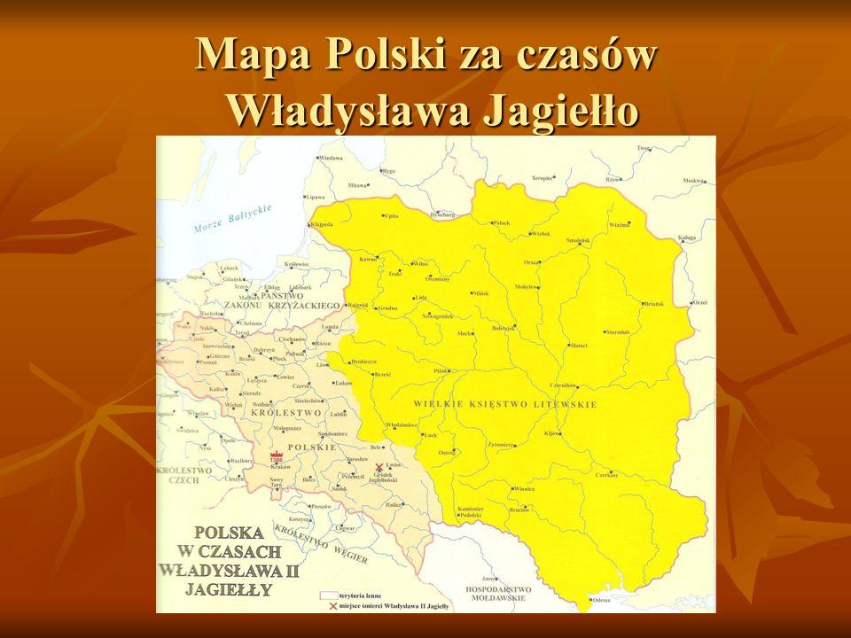 Mapa Polski za czasów Władysława Jagiełło