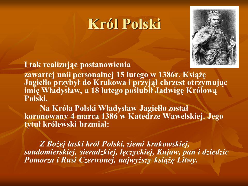Król Polski I tak realizując postanowienia zawartej unii personalnej 15 lutego w 1386r. Książę Jagiełło przybył do Krakowa i przyjął chrzest otrzymują