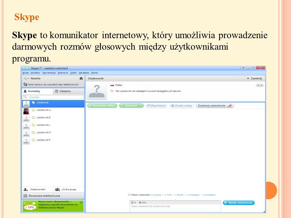 Komunikatory i czaty Komunikatory i czaty umożliwiają prowadzenie rozmów na ekranie w czasie rzeczywistym. Uczestnicząc w rozmowach na żywo, również n