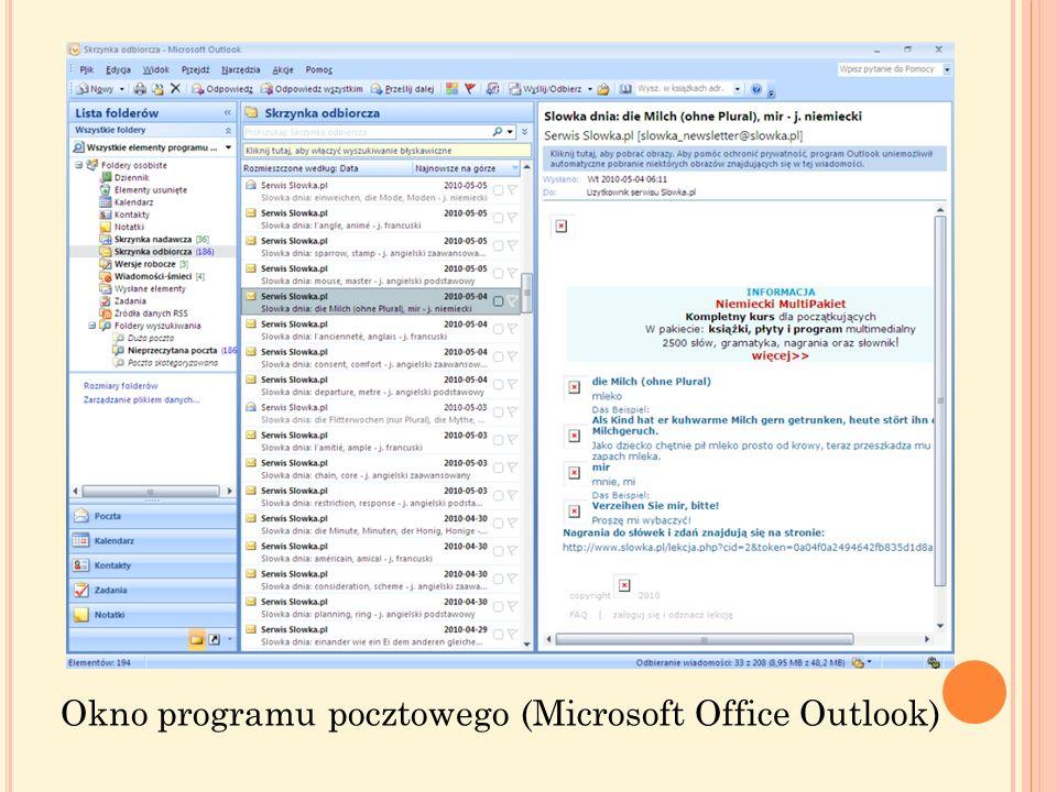 Programy pocztowe mogą proponować kilka formatów pisania listów, np. format HTML lub zwykły tekst. Format HTML umożliwia stosowanie parametrów formato