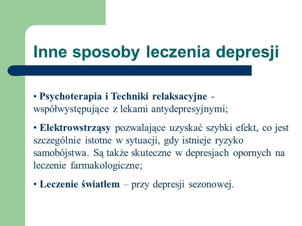 Inne sposoby leczenia depresji Psychoterapia i Techniki relaksacyjne - współwystępujące z lekami antydepresyjnymi; Elektrowstrząsy pozwalające uzyskać
