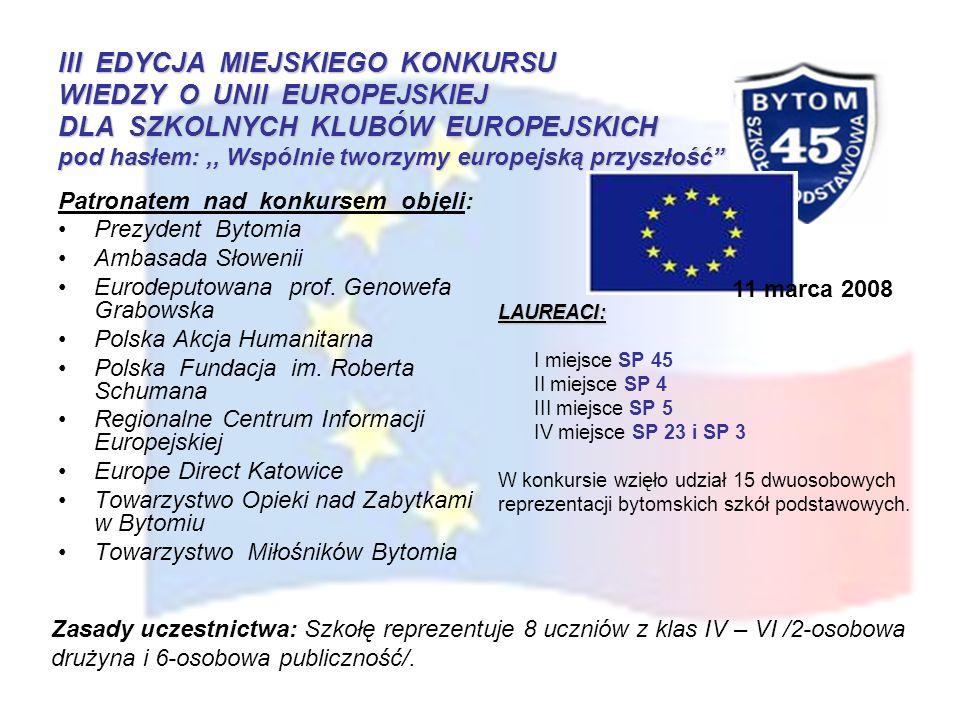III EDYCJA MIEJSKIEGO KONKURSU WIEDZY O UNII EUROPEJSKIEJ DLA SZKOLNYCH KLUBÓW EUROPEJSKICH pod hasłem:,, Wspólnie tworzymy europejską przyszłość Patr