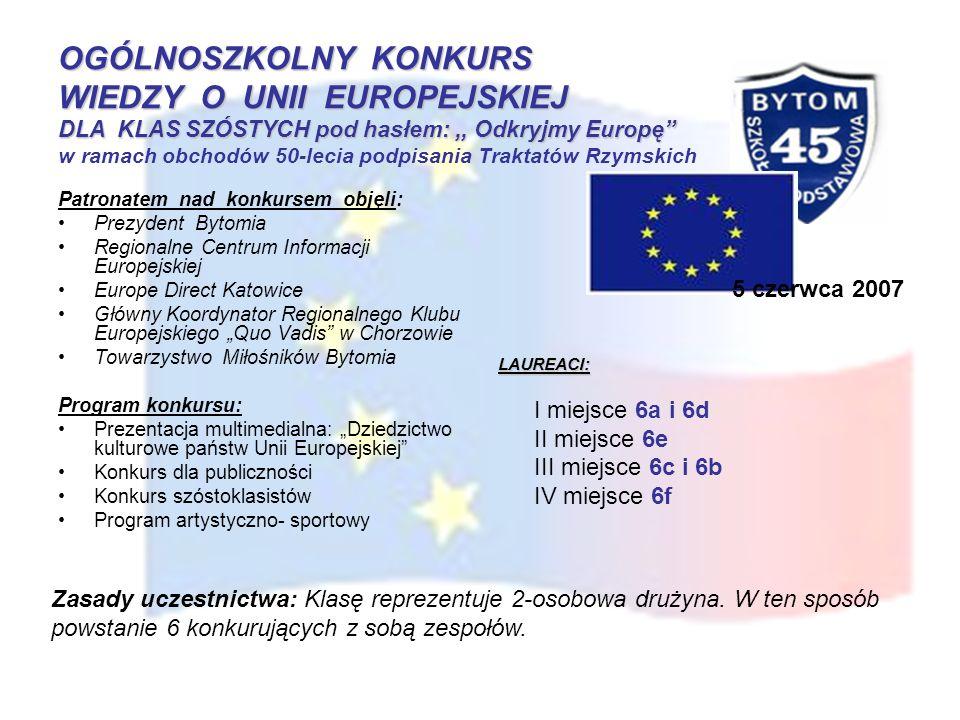 OGÓLNOSZKOLNY KONKURS WIEDZY O UNII EUROPEJSKIEJ DLA KLAS SZÓSTYCH pod hasłem:,, Odkryjmy Europę OGÓLNOSZKOLNY KONKURS WIEDZY O UNII EUROPEJSKIEJ DLA