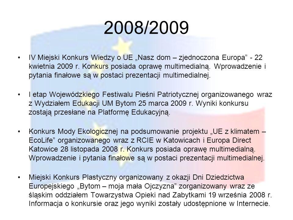 2008/2009 IV Miejski Konkurs Wiedzy o UE Nasz dom – zjednoczona Europa - 22 kwietnia 2009 r. Konkurs posiada oprawę multimedialną. Wprowadzenie i pyta